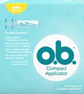 Imagem de uma embalagem de o.b.® Compact Normal com Aplicador. O produto tem três gotículas, que indicam que é recomendado para fluxo moderado.