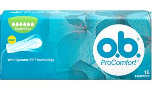 Imagem de uma embalagem de o.b.® ProComfort™ Super Plus. O produto tem seis gotículas, que indicam que é recomendado para os dias de fluxo abundante a muito abundante.