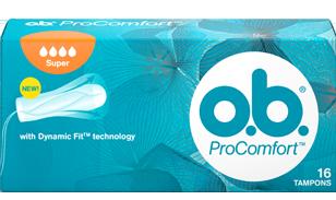 Imagem de uma embalagem de o.b.® ProComfort™ Super. O produto tem quatro gotículas, que indicam que é recomendado para os dias de fluxo moderado a abundante.