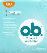 Imagem de uma embalagem de o.b.® Compact Super com Aplicador. O produto tem quatro gotículas, que indicam que é recomendado para os dias de fluxo moderado a abundante.