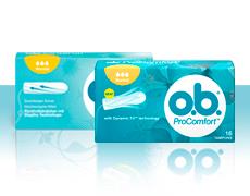 Imagem de diferentes produtos da gama de tampões o.b.®: o.b.® Original e o.b.® ProComfort™